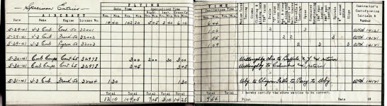 Charles e cushing world war ii pilot logs documents career flying time grouped by plane type 8 example on how to use log book pronofoot35fo Choice Image